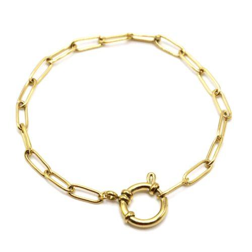 Bracelet-Chaine-Maillons-Rectangles-et-Gros-Mousqueton-Acier-Dore