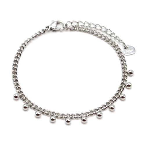 Bracelet-Chaine-Maillons-Fins-avec-Billes-Acier-Argente