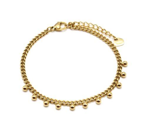 Bracelet-Chaine-Maillons-Fins-avec-Billes-Acier-Dore