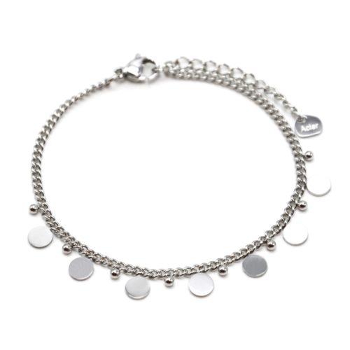 Bracelet-Chaine-Maillons-Fins-avec-Pampilles-et-Billes-Acier-Argente