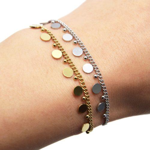 Bracelet-Chaine-Maillons-Fins-avec-Pampilles-et-Billes-Acier