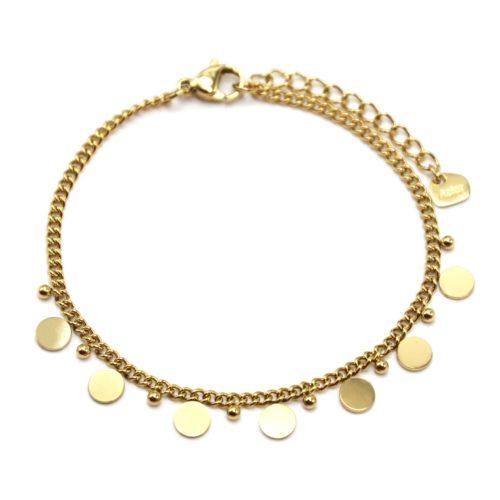 Bracelet-Chaine-Maillons-Fins-avec-Pampilles-et-Billes-Acier-Dore