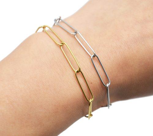 Bracelet-Chaine-Maillons-Rectangles-Ovales-Acier