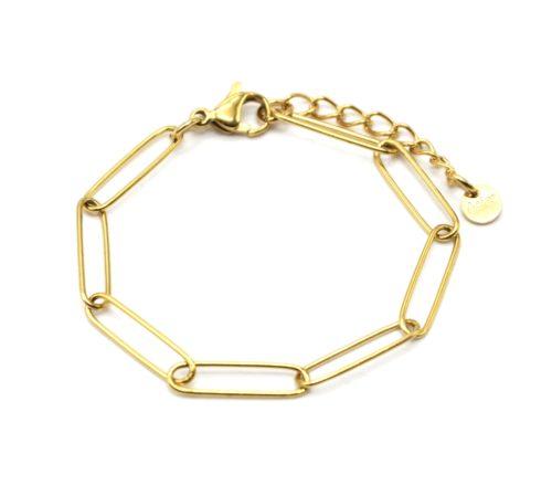 Bracelet-Chaine-Maillons-Rectangles-Ovales-Acier-Dore