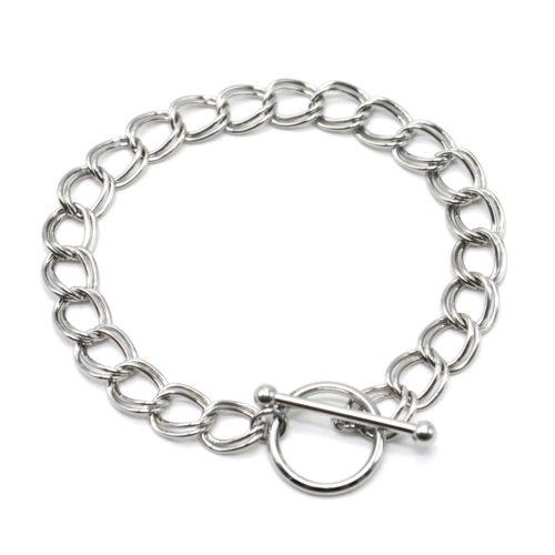 Bracelet-Chaine-Maillons-Doubles-Acier-Argente-Fermoir-Cercle-et-Barre