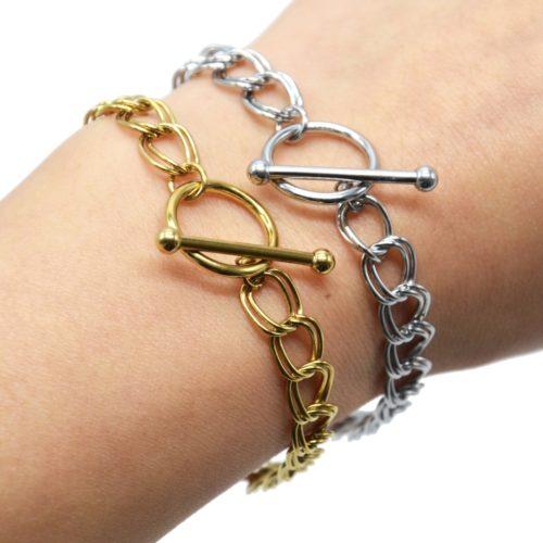 Bracelet-Chaine-Maillons-Doubles-Acier-Fermoir-Cercle-et-Barre
