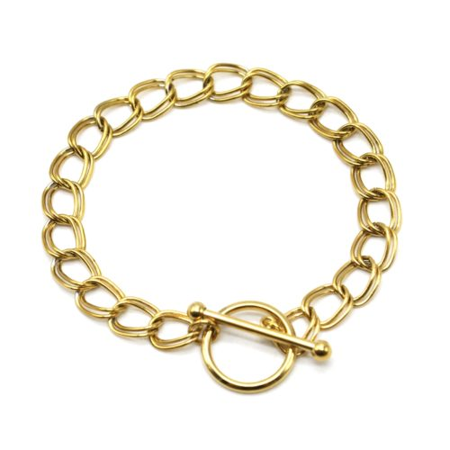 Bracelet-Chaine-Maillons-Doubles-Acier-Dore-Fermoir-Cercle-et-Barre