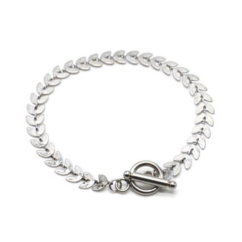 Bracelet-Chaine-Epi-de-Ble-Acier-Argente-Fermoir-Cercle-et-Barre