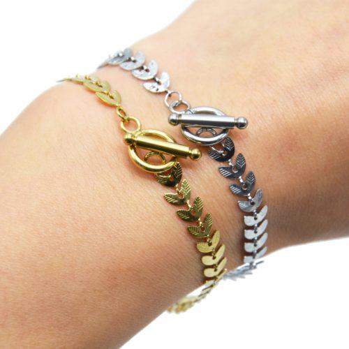 Bracelet-Chaine-Epi-de-Ble-Acier-Fermoir-Cercle-et-Barre