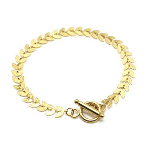 Bracelet-Chaine-Epi-de-Ble-Acier-Dore-Fermoir-Cercle-et-Barre
