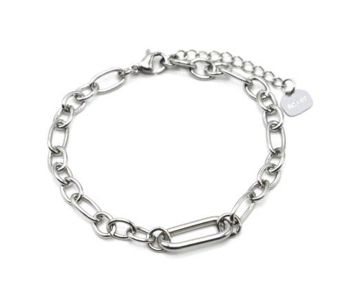 Bracelet-Chaine-Maillons-Assortis-et-Rectangle-Arrondi-Acier-Argente