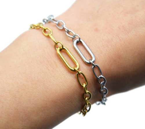 Bracelet-Chaine-Maillons-Assortis-et-Rectangle-Arrondi-Acier