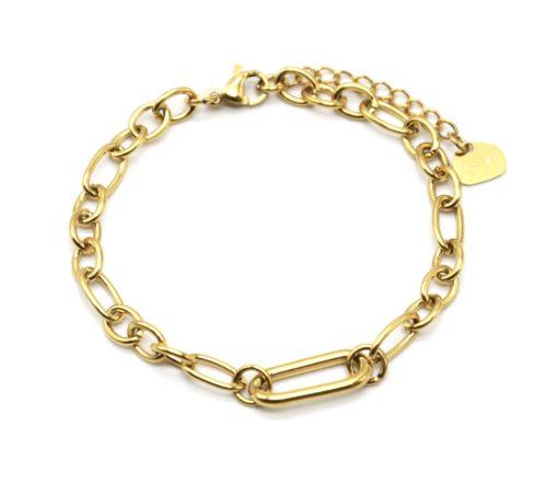 Bracelet-Chaine-Maillons-Assortis-et-Rectangle-Arrondi-Acier-Dore