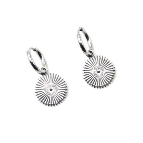 Boucles-dOreilles-Mini-Creoles-avec-Medaille-Rayons-Acier-Argente