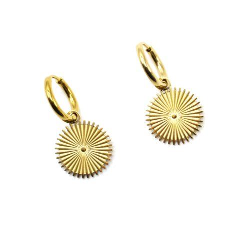 Boucles-dOreilles-Mini-Creoles-avec-Medaille-Rayons-Acier-Dore