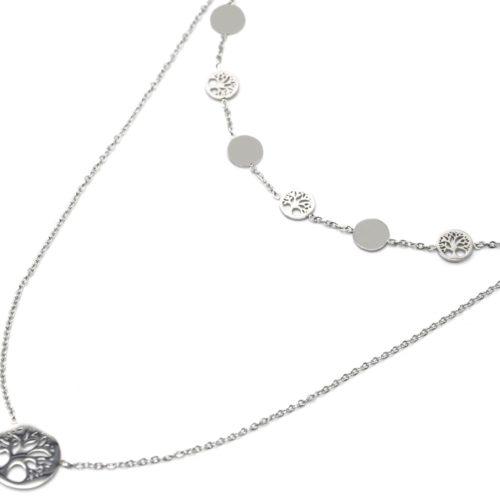 Collier-Double-Chaines-Pendentifs-Cercles-et-Arbres-de-Vie-Acier-Argente