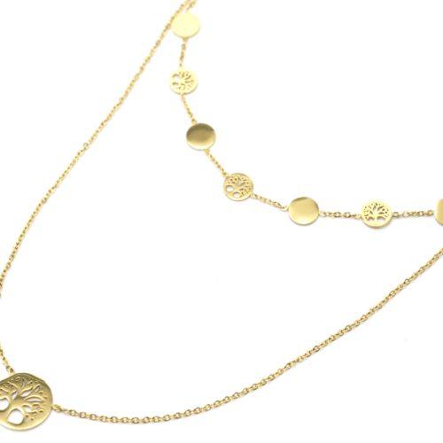 Collier-Double-Chaines-Pendentifs-Cercles-et-Arbres-de-Vie-Acier-Dore