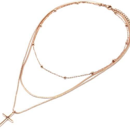 Collier-Triple-Chaines-Billes-Maille-Serpent-et-Pendentif-Croix-Acier-Or-Rose