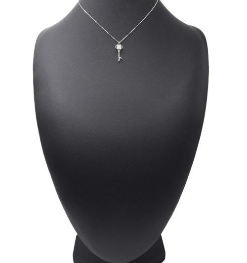 Collier-Fine-Chaine-Argent-925-Pendentif-Cle-Pierres-Zirconium