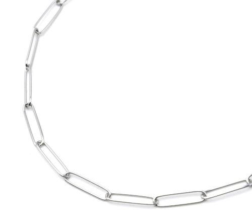 Collier-Chaine-Maillons-Rectangles-Ovales-Acier-Argente