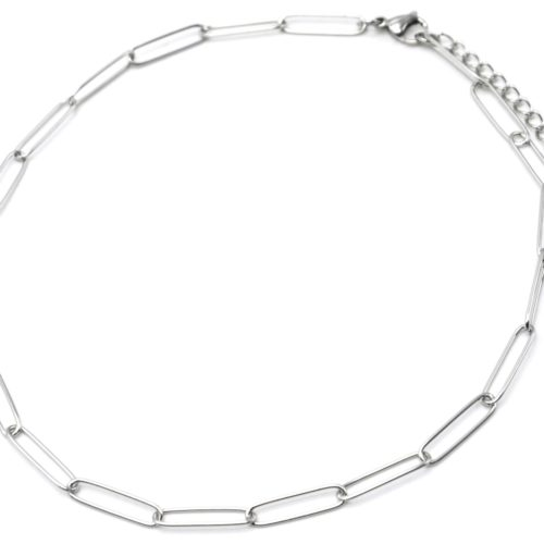 Collier-Chaine-Maillons-Rectangles-Ovales-Acier-Argente