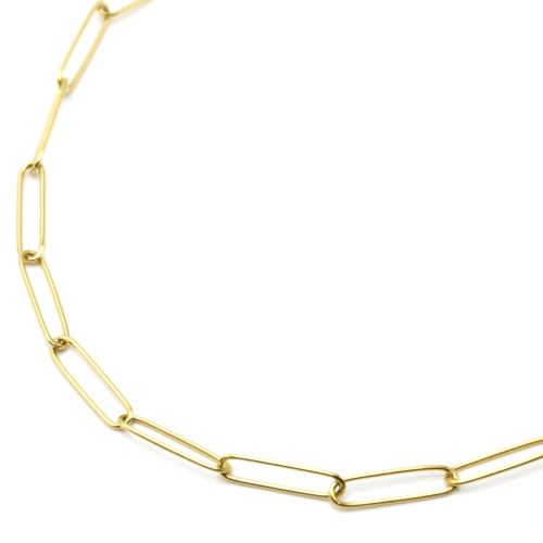 Collier-Chaine-Maillons-Rectangles-Ovales-Acier-Dore