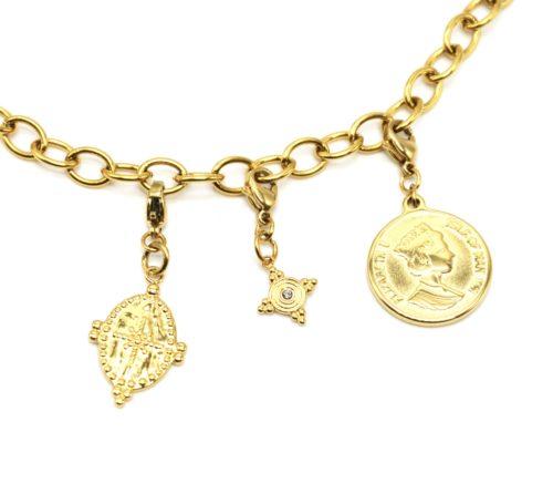 Charms-Medaille-Etoile-Mini-Cercle-et-Piece-Acier-Dore