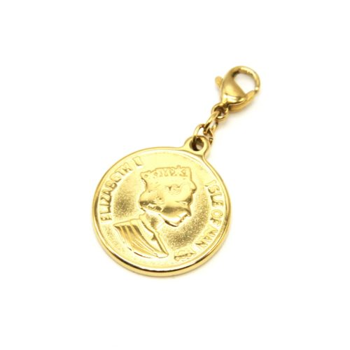 Charm-Piece-Monnaie-Elisabeth-II-Acier-Dore