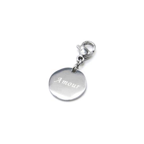 Charm-Medaille-Amour-Acier-Argente