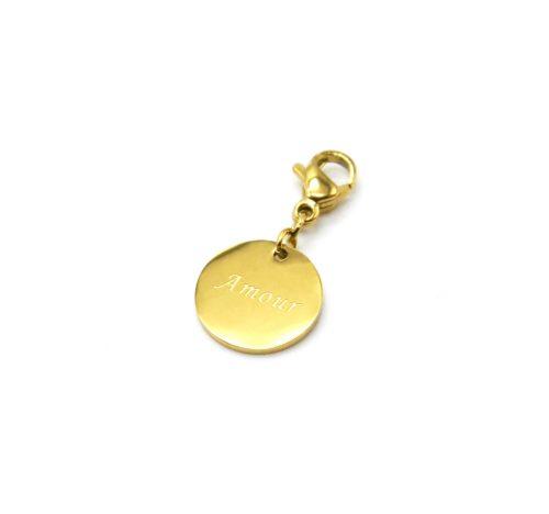 Charm-Medaille-Amour-Acier-Dore