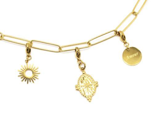 Charm-Soleil-Medaille-Etoile-et-Medaille-Amour-Acier-Dore