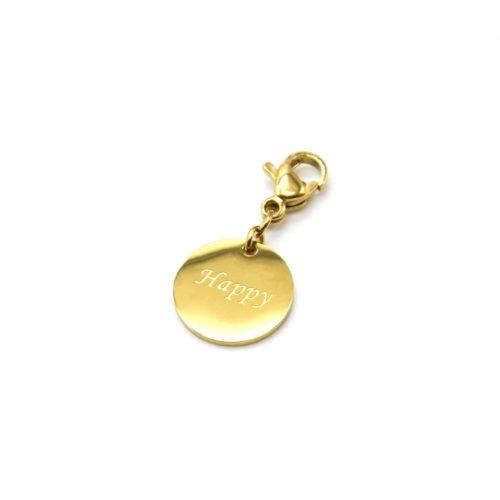 Charm-Medaille-Happy-Acier-Dore