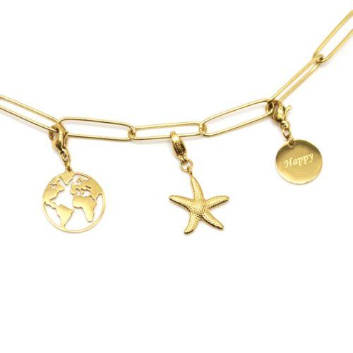 Charm-Globe-Etoile-de-Mer-et-Medaille-Happy-Acier-Dore