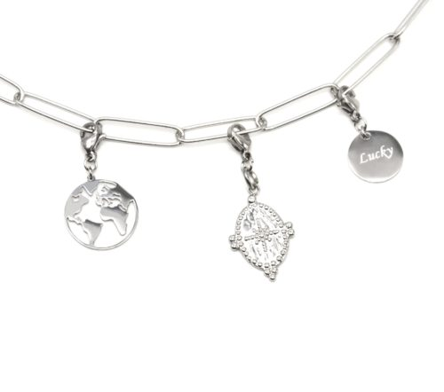 Charm-Globe-Medaille-Etoile-et-Medaille-Lucky-Acier-Argente