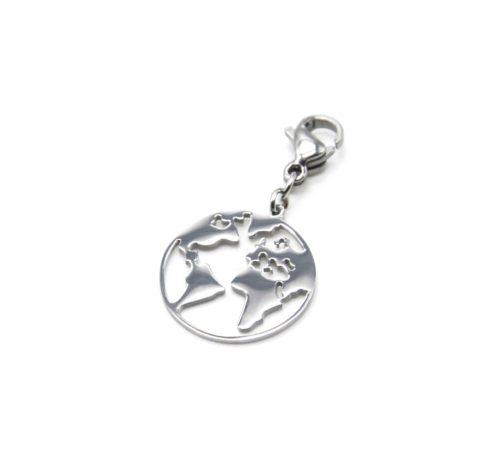 Charm-Globe-Carte-Monde-Acier-Argente