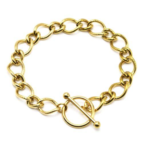 Bracelet-Chaine-Gros-Maillons-Motif-Acier-Dore-Fermoir-Cercle-et-Barre
