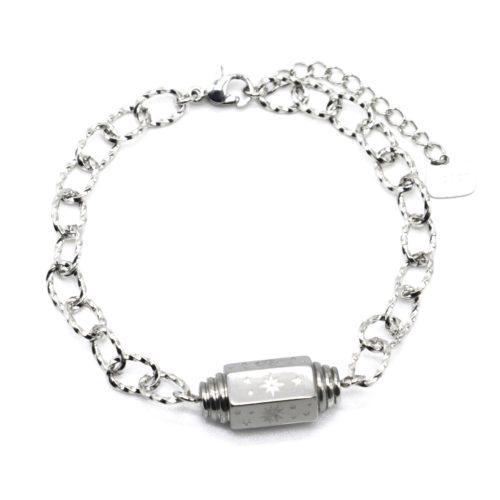 Bracelet-Chaine-Maillons-Tube-Grave-Love-et-Symboles-Acier-Argente