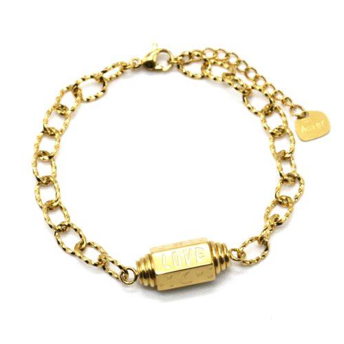 Bracelet-Chaine-Maillons-Tube-Grave-Love-et-Symboles-Acier-Dore