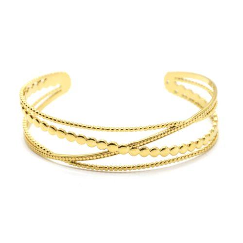Bracelet-Manchette-4-Rangs-Croises-Billes-et-Cercles-Acier-Dore