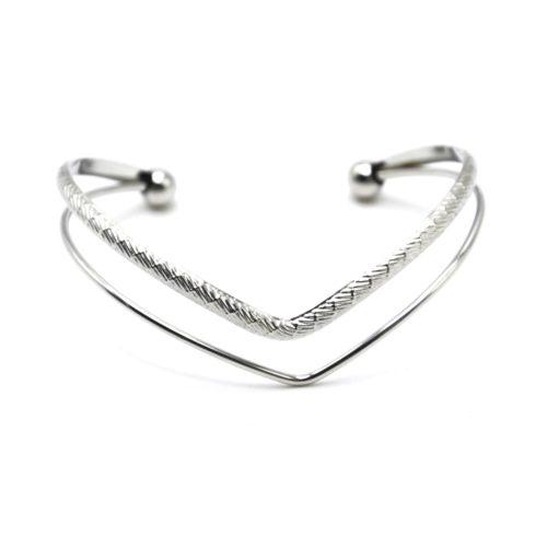 Bracelet-Jonc-2-Rangs-Chevrons-Motif-Acier-Argente