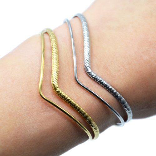 Bracelet-Jonc-2-Rangs-Chevrons-Motif-Acier