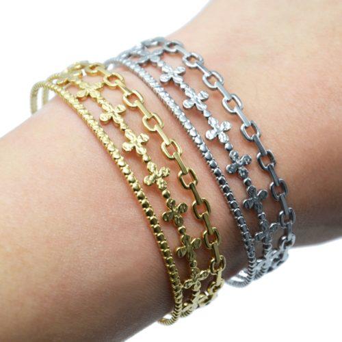 Bracelet-Manchette-3-Rangs-Maillons-Trefles-et-Cercles-Acier