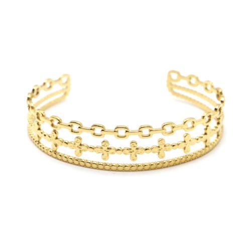 Bracelet-Manchette-3-Rangs-Maillons-Trefles-et-Cercles-Acier-Dore
