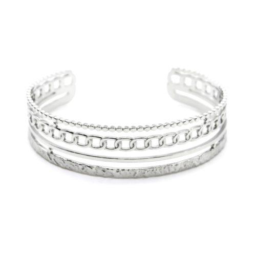 Bracelet-Manchette-4-Rangs-Cercles-Maillons-et-Martele-Acier-Argente