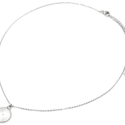 Collier-Fine-Chaine-Pendentif-Medaille-Rayons-Acier-Argente
