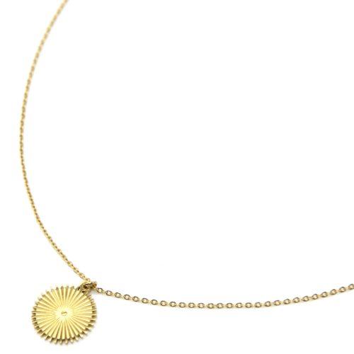 Collier-Fine-Chaine-Pendentif-Medaille-Rayons-Acier-Dore