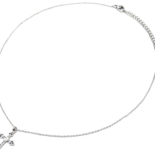 Collier-Fine-Chaine-Pendentif-Croix-Motif-Acier-Argente
