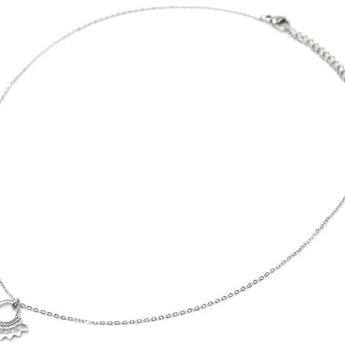 Collier-Fine-Chaine-Pendentif-Cercle-Ethnique-Acier-Argente