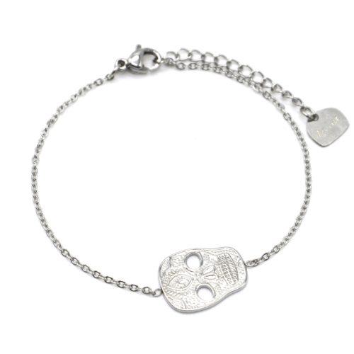 Bracelet-Fine-Chaine-avec-Tete-de-Mort-Calavera-Acier-Argente