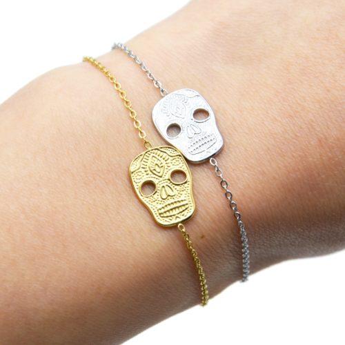Bracelet-Fine-Chaine-avec-Tete-de-Mort-Calavera-Acier